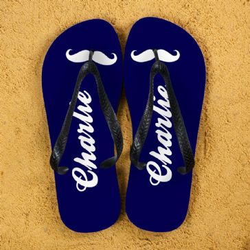 Moustache Style Personalised Flip Flops in Navy Blue